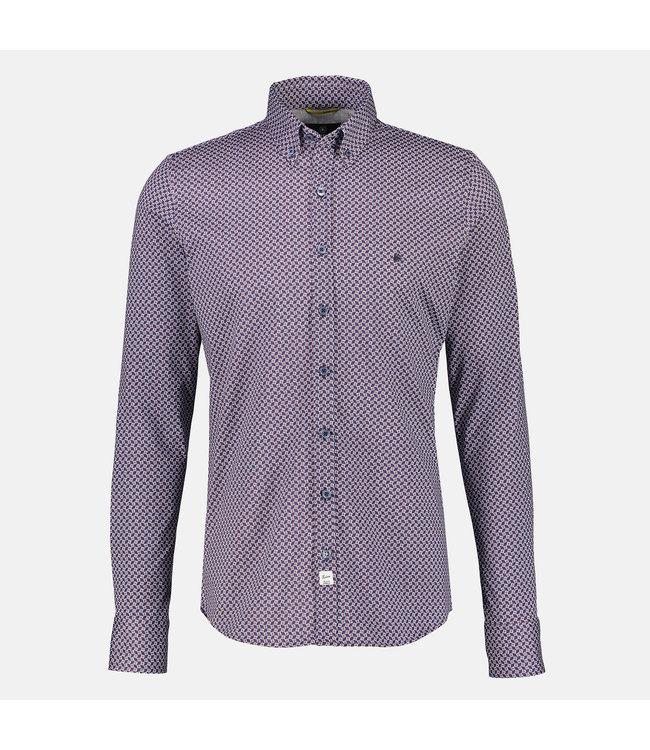 Lerros Shirt with Allover Print, Jersey Quality - Dark Blue