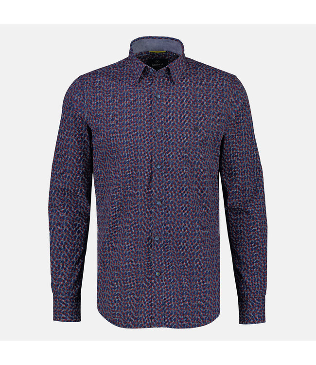 Lerros Shirt with Allover Print, Button-Down - Burnt Red
