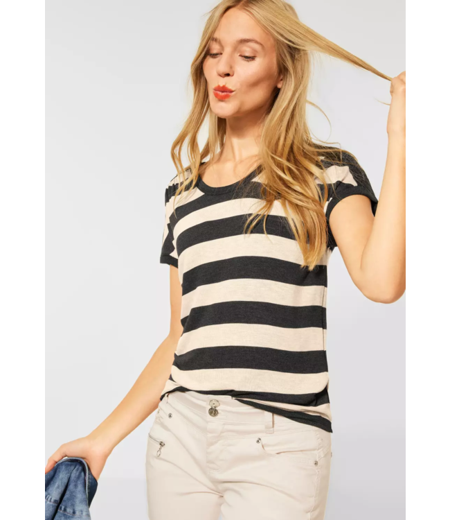 Street One Shirt with Pleated Shoulder - Anthracite Melange