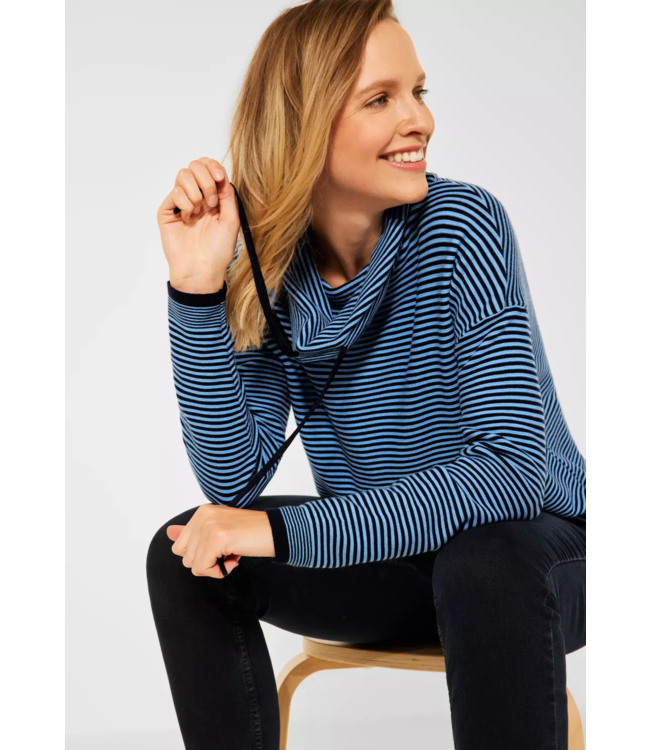 Cecil Sweater with Stripes - Deep Blue