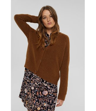 Esprit With Wool: V-Neck Cardigan - Toffee
