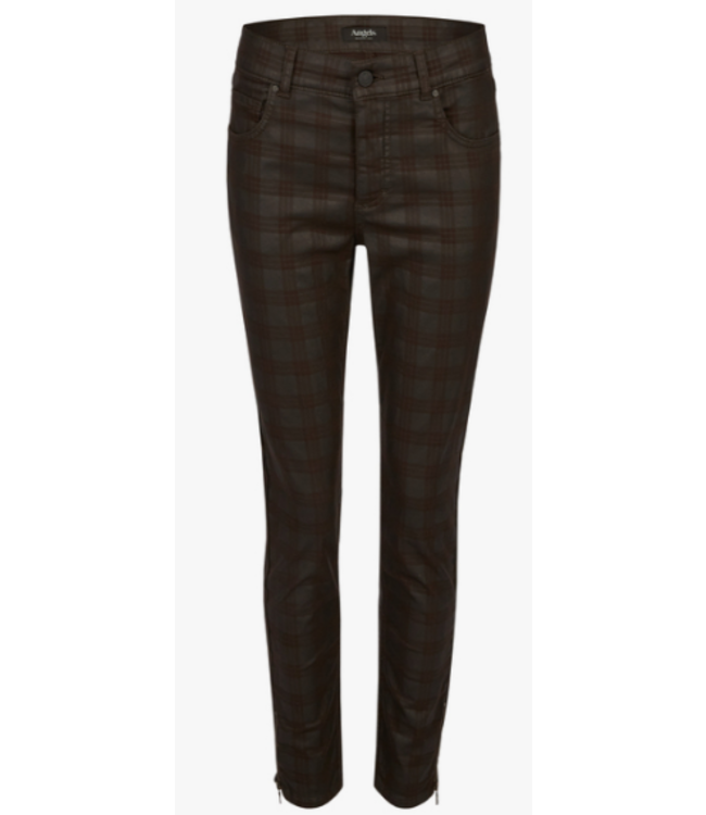 Angels Jeanswear Skinny Ankle Zip with Check - Chocolate