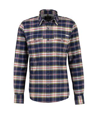 Lerros Flannellen Ruit Overhemd - Bold Navy
