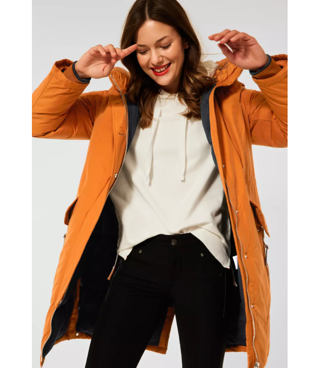 Street One Long Quilted Parka - Caramel