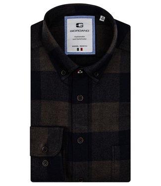 Giordano Button-Down Overhemd Flannel - Dark Green