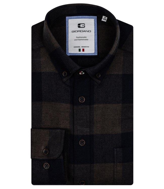 Giordano Flannel Button-Down Shirt - Dark Green