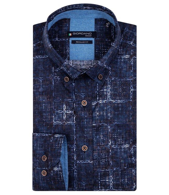 Giordano Button-Down Shirt Printed - Dark Navy