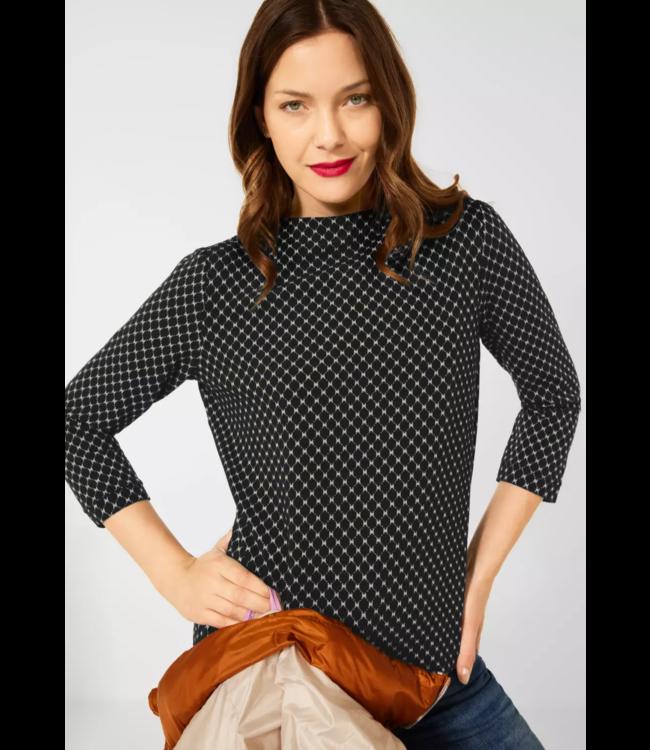 Street One Shirt with Minimal Print - Black