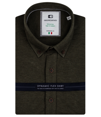 Giordano Shirt with Stretch Effect - Olive Green