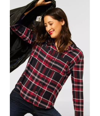 Street One Checkered Blouse - Full Red