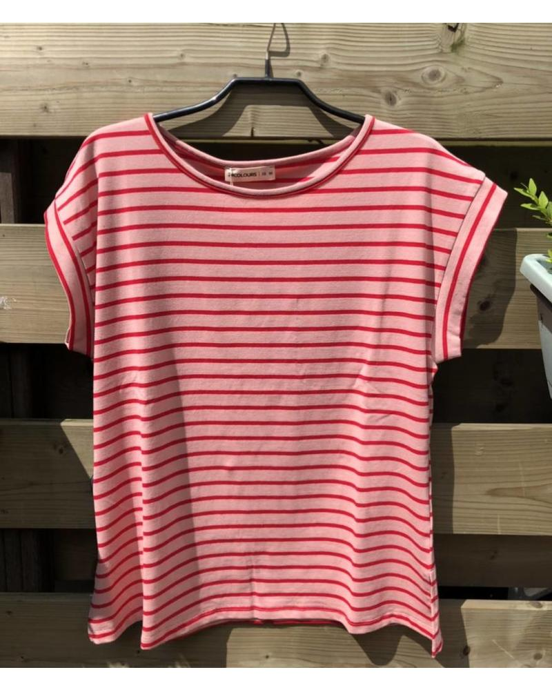 24 Colours Striped Tee Pink