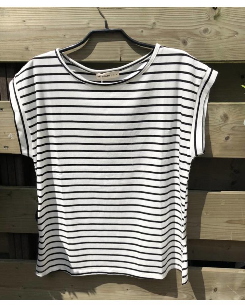 24 Colours Striped Tee Black