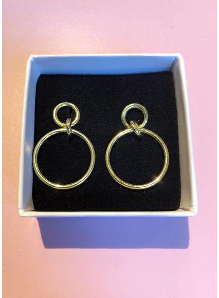 Sweet Palms Gold Circle Hoop Earrings