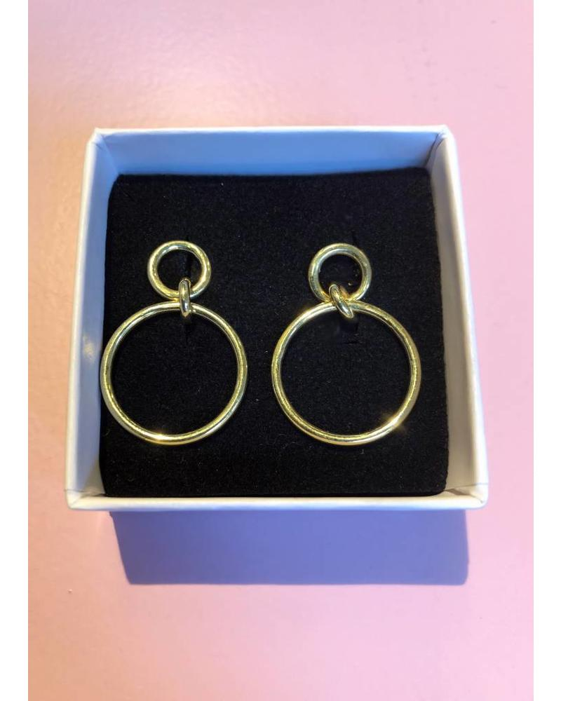 Sweet Palms Gold Circle Hoop Earrings