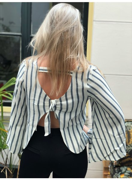 Rut and Circle Stripe Open Blouse