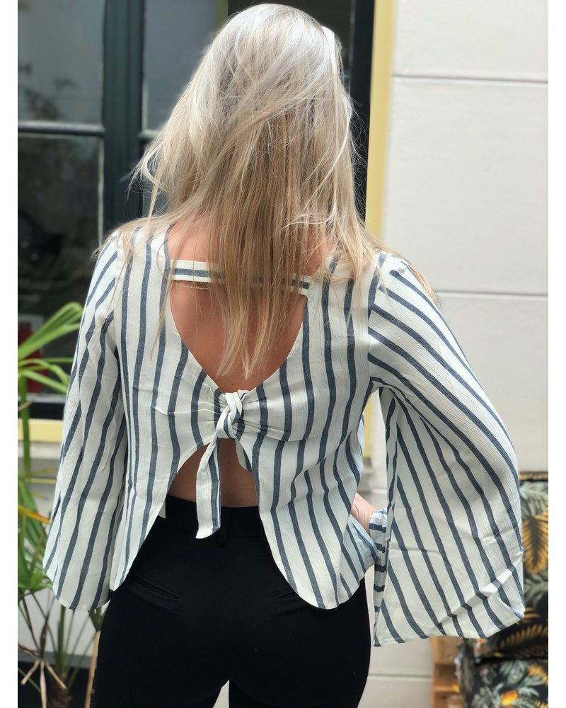Rut and Circle Stripe Open Blouse