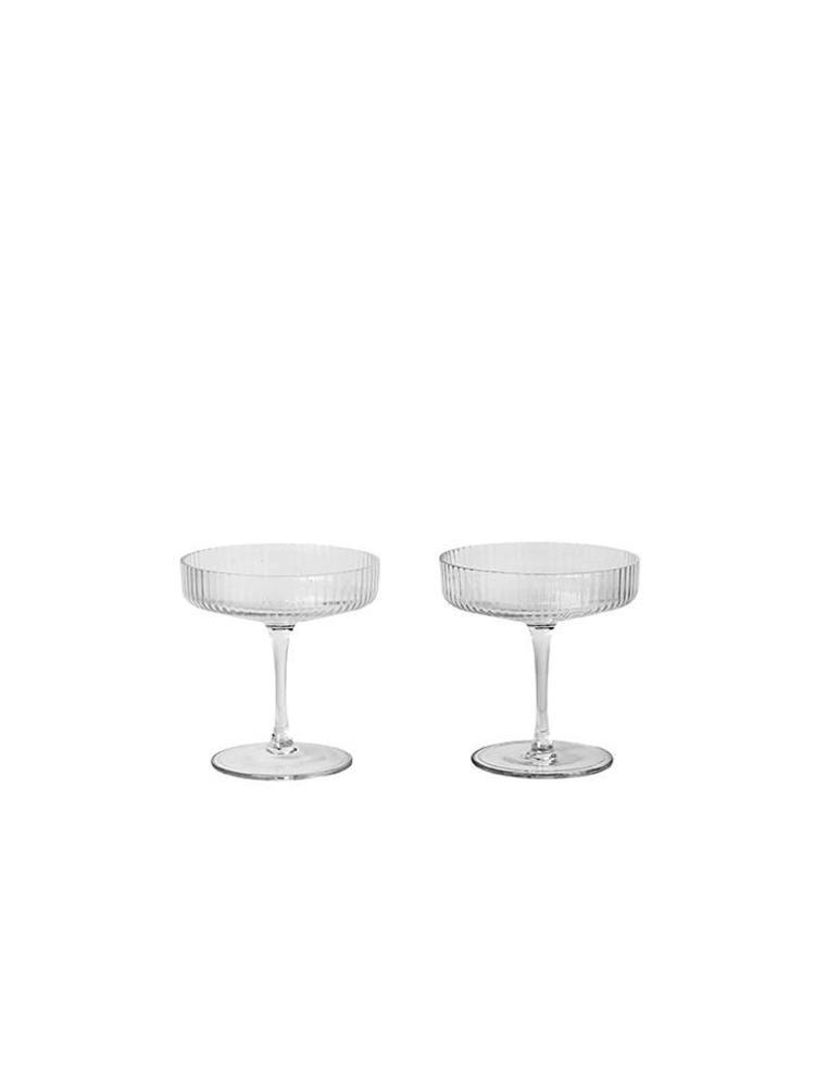 ferm LIVING Ferm Living Ripple Champagne Glasses (Set of 2)