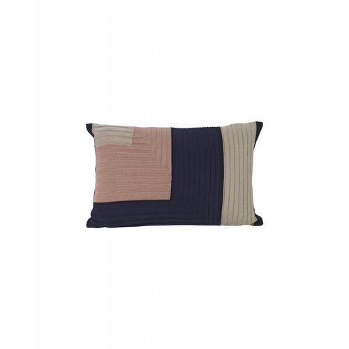 ferm LIVING Angle Knit Cushion - Dark Blue