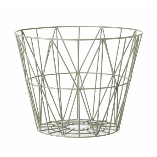 ferm LIVING Wire Basket Dusty Green Small