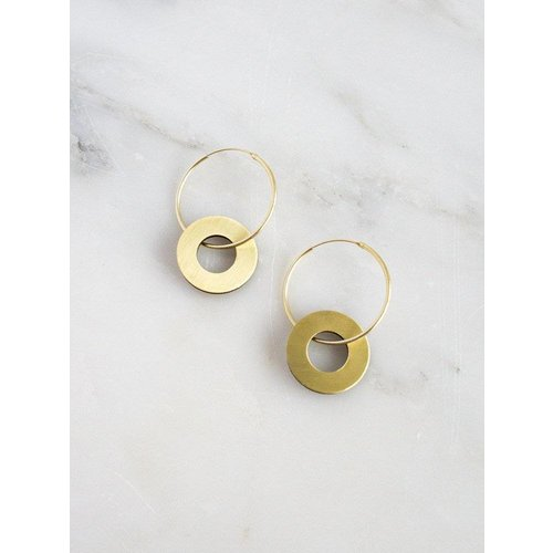 Wolf & Moon Disc Charm Hoops - Brass