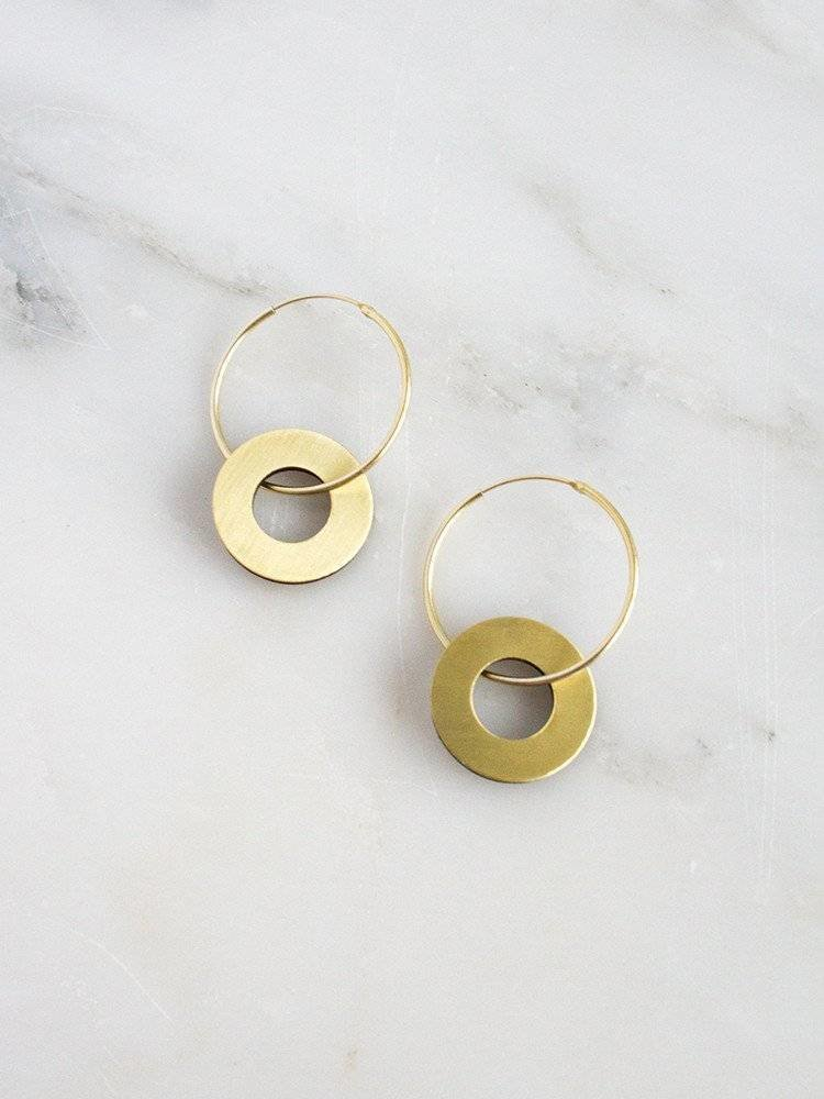 Wolf & Moon Wolf & Moon Disc Charm Hoops - Brass