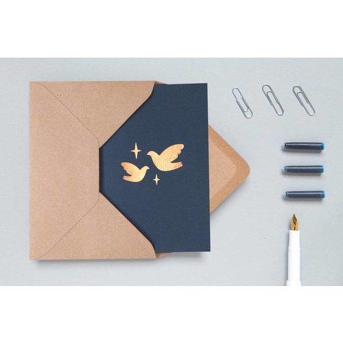 Ola Foil Blocked Cards: Two Doves Navy/Rose Gold