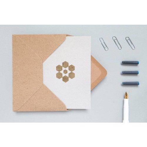 Ola Foil Blocked Cards: Snowflake Light Grey/Brass