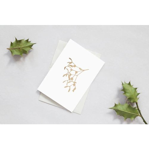 Ola Foil Blocked Card Botanical Collection - Holly & Mistletoe Card Box