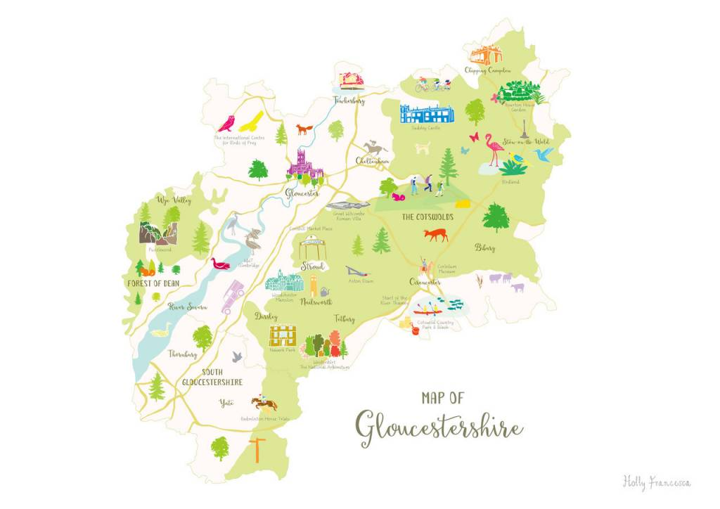 Map Of Uk Gloucester.Holly Francesca Map Of Gloucestershire A3
