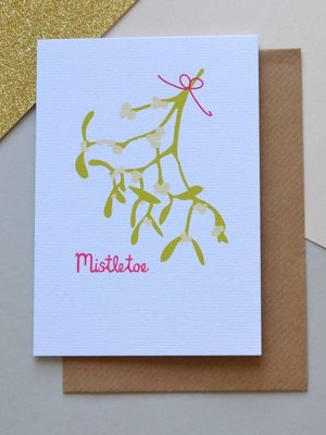 Holly Francesca Christmas Mistletoe Card