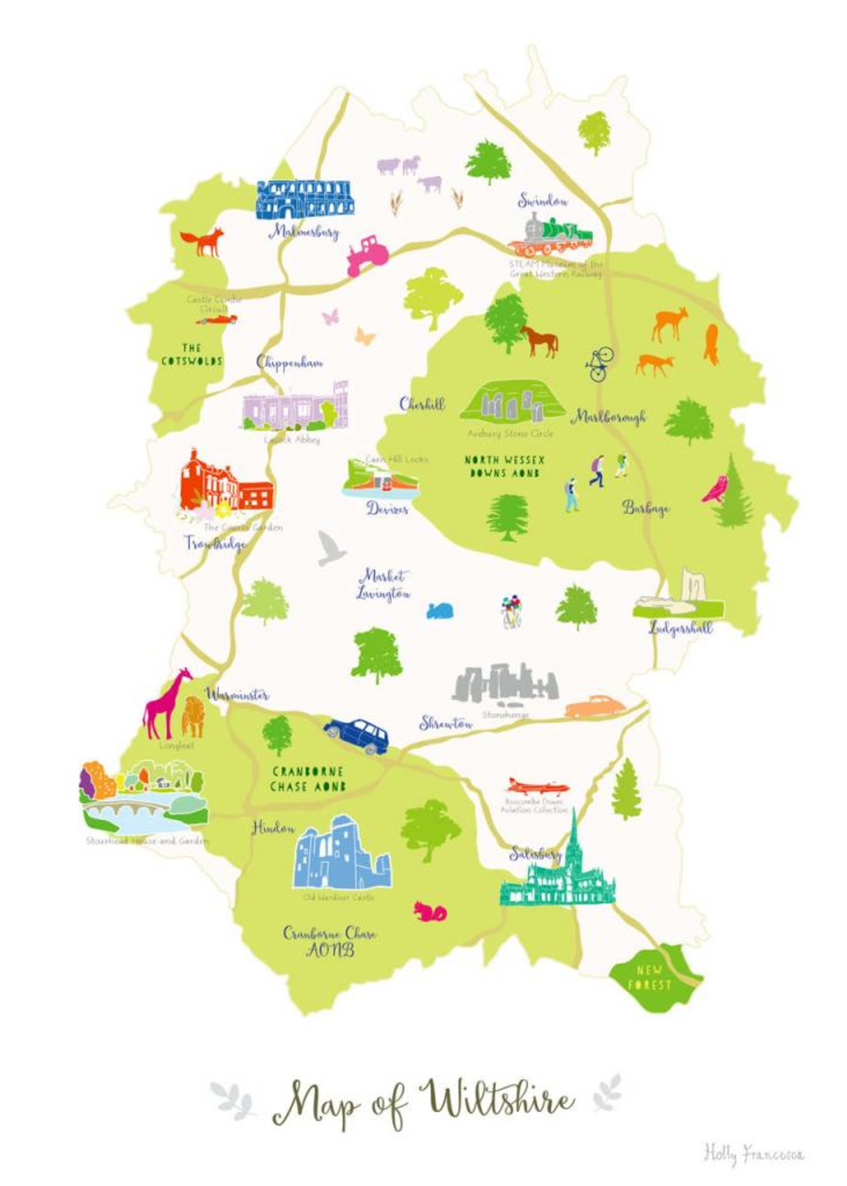 Holly Francesca Holly Francesca Map of Wiltshire A3