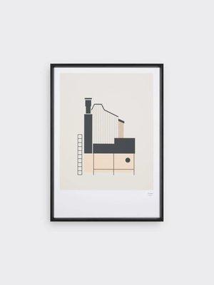 Tom Pigeon Tom Pigeon Tin Shed 1 - Coral Print - A3