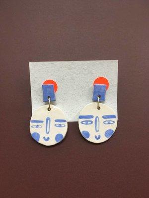 Ceramic Face Earrings - White & Blue