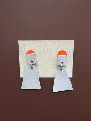 Ceramic Bell Earrings - Dusty Blue