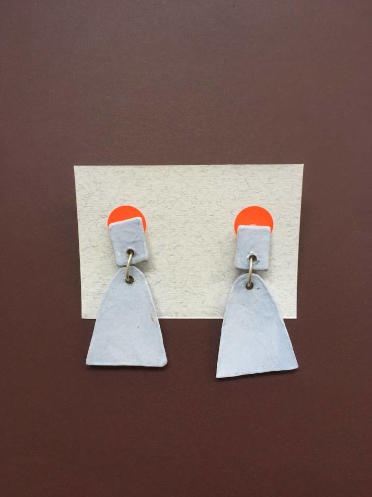 Alice Johnson Ceramic Bell Earrings - Dusty Blue