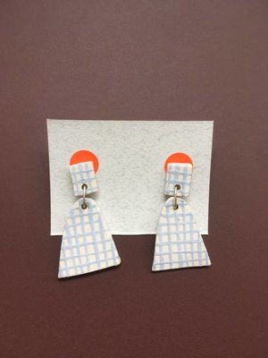 Ceramic Bell Earrings - Dusty Blue Checked