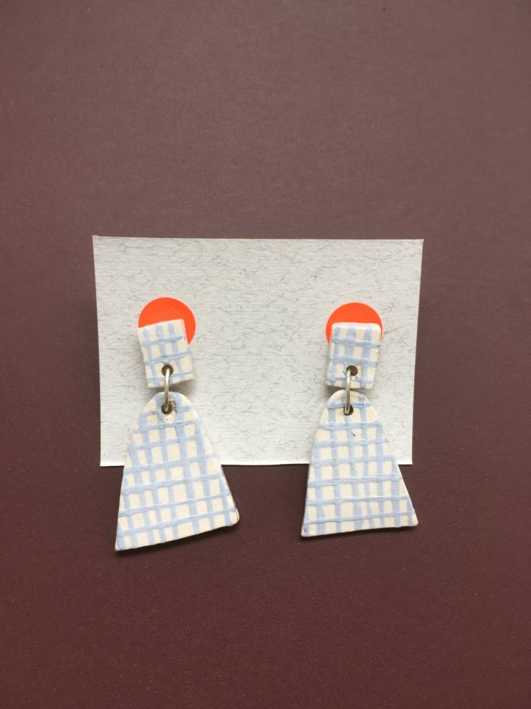 Alice Johnson Alice Johnson Ceramic Bell Earrings - Dusty Blue Checked