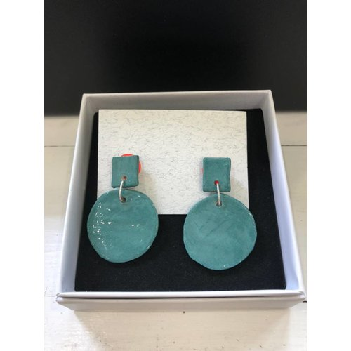 Alice Johnson Ceramic Round Earrings - Green