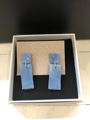 Ceramic Bar Earrings - Blue