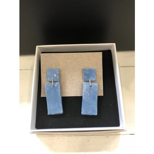 Alice Johnson Ceramic Bar Earrings - Blue