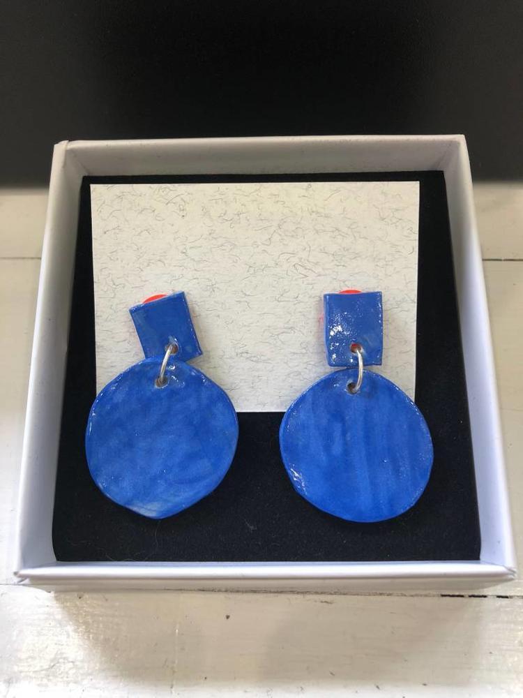 Alice Johnson Ceramic Round Earrings - Blue