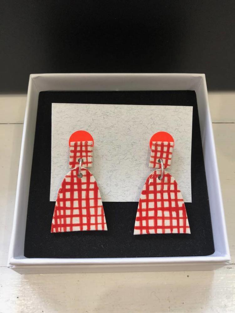 Alice Johnson Ceramic Bell Earrings - Red Checked