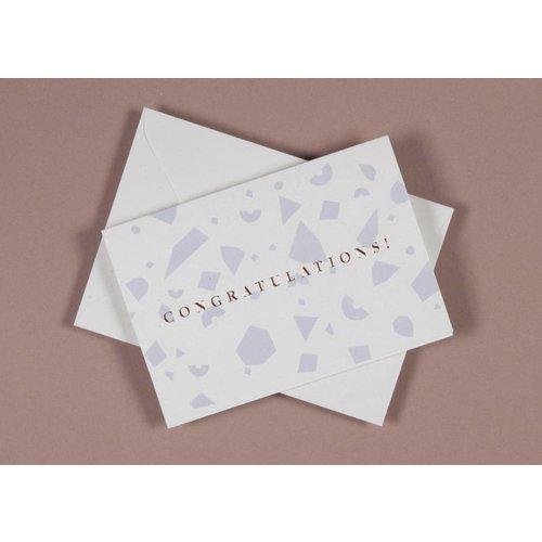 Ola Foil Blocked Cards: Confetti Congratulations Blue/RoseGold
