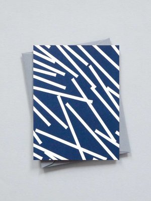 Ola Small Patterned Card: Lines Print Navy