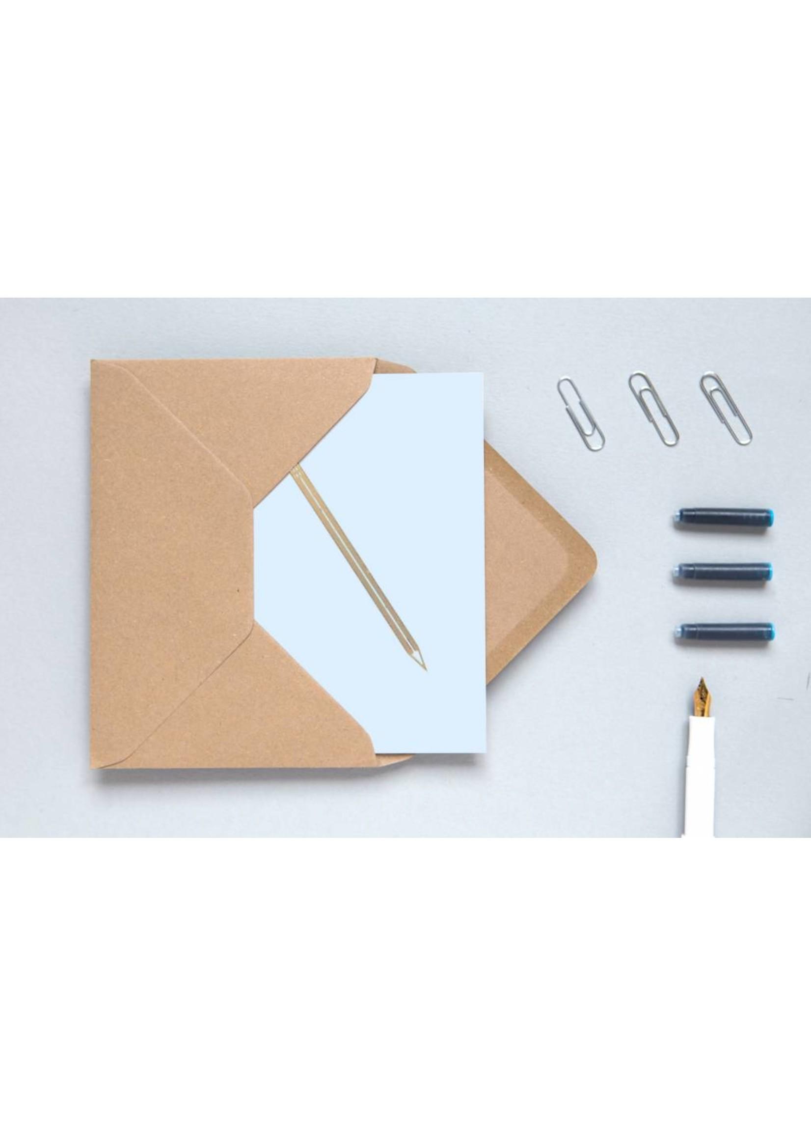 Ola Ola Foil Blocked Cards: Pencil Blue/Brass