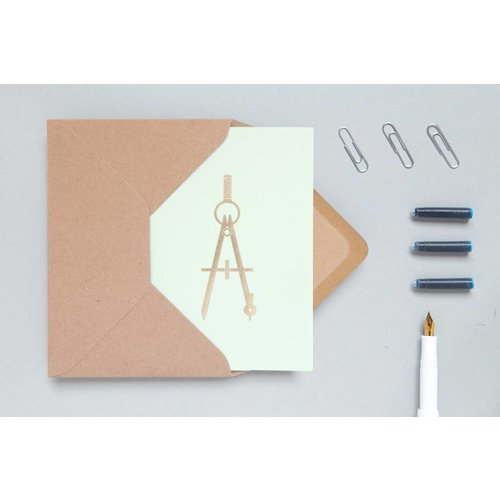 Ola Foil Blocked Cards: Compass Mint/Brass