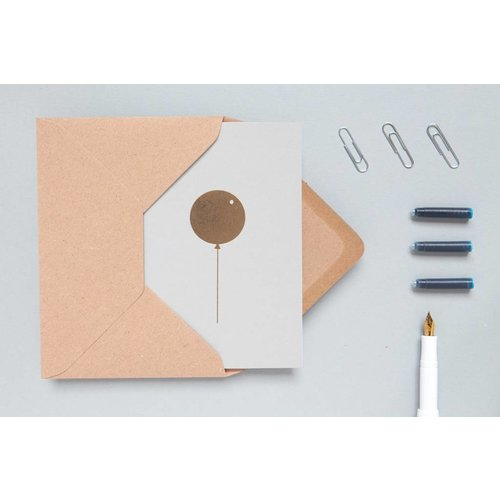Ola Foil Blocked Cards: Balloon Light Grey/Brass