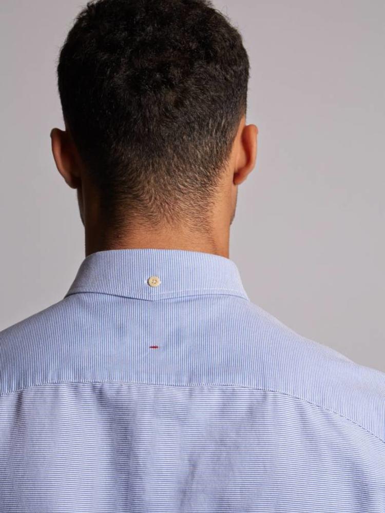 HYMN London HYMN 'KEEGAN' Textured Blue Shirt