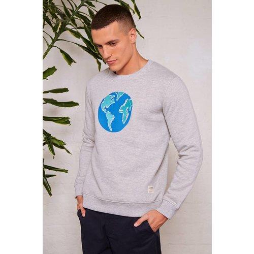 HYMN London 'EARTH' Globe Embroidered Grey Sweatshirt