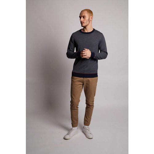HYMN London 'RIVER' Merino Grey Navy Striped Jumper